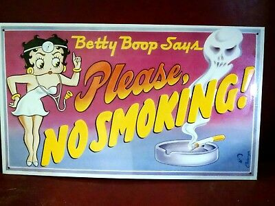 Betty Boop Nurse Please No Smoking old metal sign NICE!!