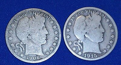 G/VG 1906 D and 1915-S 50C Barber Half Dollars, Nice Early Type!