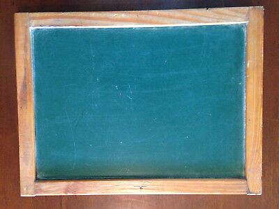 primitive antique old fashioned school lap 2-sided green chalk board vintage