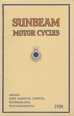 Sunbeam Motrocycle brochure Reprint models 1 2 5 6  8 9 80 90 7 plus sidecars