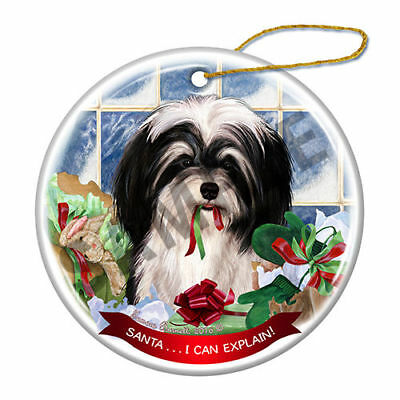 Havanese Black and White Howliday Porcelain China Dog Christmas Ornament H2