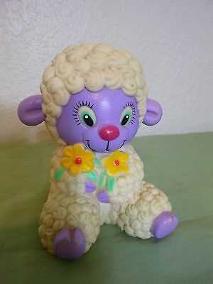 "1985 vintage Rubber SHELCORE Sheep w/Flowers, purple face Squeaky Toy 5"" tall"