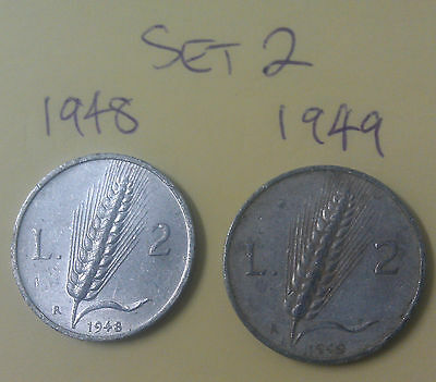 Set #2 Italy Republic 2 Lire aluminium coins 1948 1949 (scarce low mintage year)
