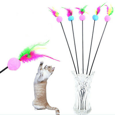 Funny Kitten Play Length Interactive Fun Toy Cat Teaser-Wand Pet Feather Xmas FR