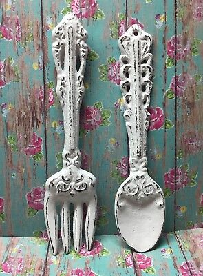 Cast Iron Fork And Spoon Set White Shabby Chic Kitchen Wall