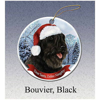Bouvier des Flandres Black Howliday Porcelain China Dog Christmas Ornament