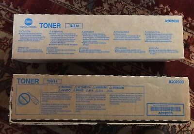 2 Genuine Konica Minolta - A202030 - TN414 Black Toner - for BH 363 / 423