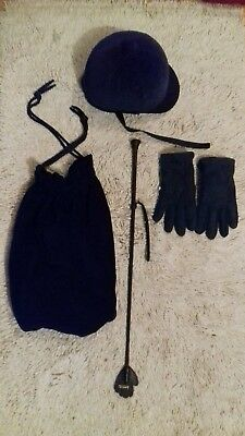 christy Beaufort riding hat bag gloves and riding crop