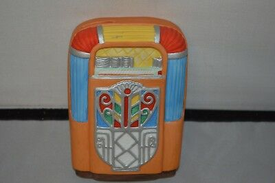 Ceramic Hand Painted Musical Jukebox Coin Piggy Banks Total Of 2 Coinbanks Wow!