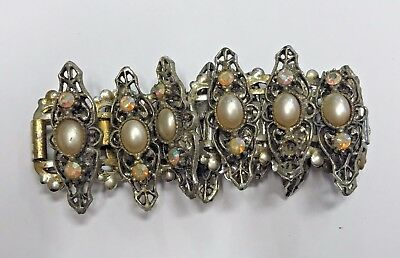 Stunning Vintage Estate Find Faux Gold Chain Bracelet W/white Beads A6