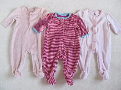 86cac66fd16f Baby Gap Girls Set Footed One-Piece Velour Sleepers Newborn Size 0-3 Months