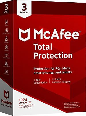 McAfee Total Protection 2019 1 Year 3 Devices Antivirus Key Install New / Renew