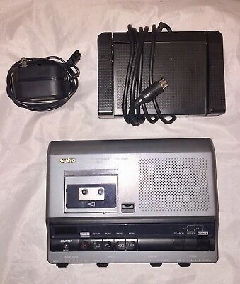Sanyo Memo Scriber TRC-6030 Microcassette Transcribing System With Foot Pedal