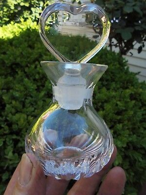 Vintage Crystal Glass Perfume Bottle Heart Shaped Stopper Like New