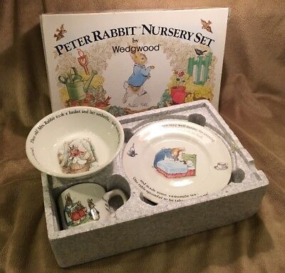 Wedgwood Peter Rabbit 3 Piece Nursery Set Mug Plate Oatmeal Bowl