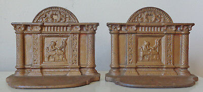 Pair Of Cast Iron Gold Finish Bookends With Classic Columns And Woman At Work