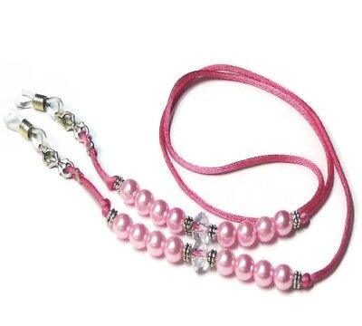 Pink Pearl Beaded Cord Reading Eye glasses spectacle holder lanyard