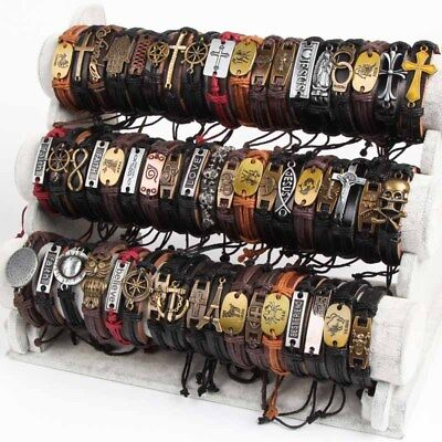 30pcs New Styles Vintage Biker punk leather Cuff Bracelets Wholesale Mixed lot