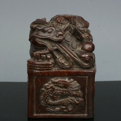 Chinese Exquisite Hand-carved Dragon turtle Dragon carving OX horns seal