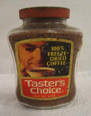 FULL NOS 1970's VINTAGE TASTER'S CHOICE INSTANT COFFE 8 OZ. GLASS JAR METAL LID