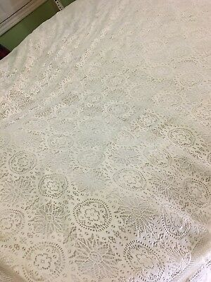 Antique Vintage Net Lace Bedspread Full Size 96 x 95 inches Gorgeous