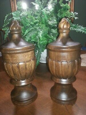 "Beautiful Pair Architectural Salvage Old Carved Wood Newel Post/Finials – 14"" Ta"