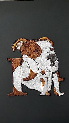 Pitbull Dog,Staffordshire, Pit bull, Bulldog, Embroidered Patch Brown & White