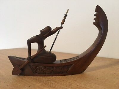 Vintage wooden carving - Polynesian Warrior in Canoe