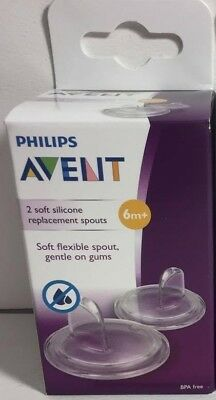 new Avent Philips Replacement Soft Silicone Spouts 6m+