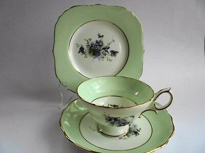 Hammersley Wild Violets Trio Tea Cup Saucer Plate Like New