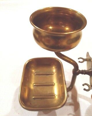 Antique Brass Soap Holder Cup Toothbrush Bathroom Metal Hardware Vintage