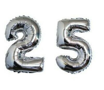 16 Inch 25 Silver Number Balloons 25th Birthday Party Anniversary Foil Balloon