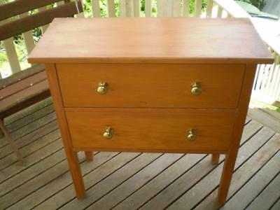 vintage 2 drawer cabinet huen pine  hall table bedroom dresser brass handles