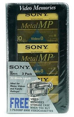 Sony 8mm Metal MP Videocassettes & Storage Case-30 minutes Each