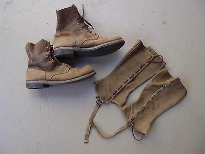 """Ww2 Us Roughout Boots And Leggings Film Props The Great Raid """"2Nd Lt.foley"""" Fred"""