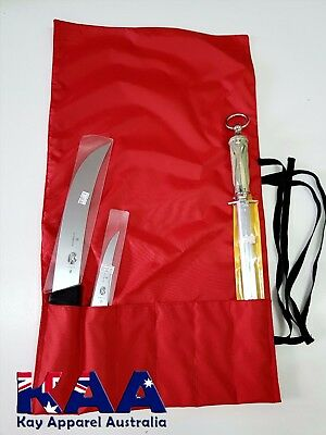 Knife Roll BUTCHERS CHEFS RED Water Resistant, Smoking, American BBQ