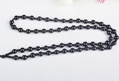 10pc Natural black JADE obsidian Circle Black 6mm Beads string cord For Pendant