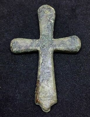 MEDIEVAL BRONZE CROSS PENDANT AMULET 66.7x42.5mm 39.9gr