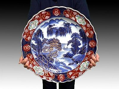 IMARI ware/ Large Dish/ Plate/ Various Colored/ For Party or Dinner/ Japanese Po