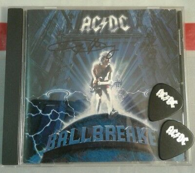 Angus Young Signed Autographed Ballbreaker CD With 2 AC/DC Guitar Picks