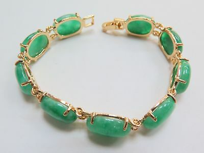 Best 18k Yellow GP Alloy& Chinese Green Jade Women Chain Bracelet 7.3 inches