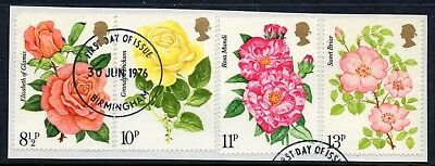 GB = 1976 Rose Centenary set of 4. SG 1006-1009. Very Fine Used from a FDC.