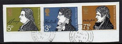 GB = 1971 Literary Anniv. set of 3. SG 884-886. Very Fine Used from a FDC.