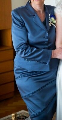 Vicky Mar blue satin Mother of the Bride outfit - skirt suit + top, size 16