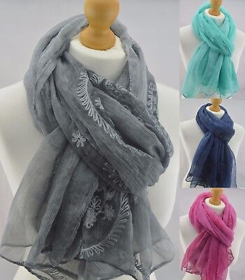 Ladies Paisley Lace Sheer Floral Scarf Shawl Wrap Stole Wedding Bridal Prom Long