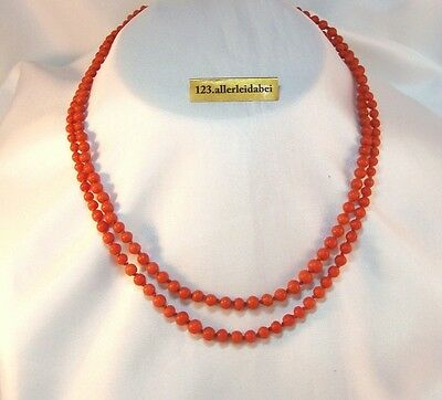 Korallen Kette 2 Reihig Collier 585 er Gold Koralle old coral necklace / AP 824