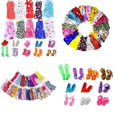 """11"""" Barbie Doll Clothes + Shoes Handmade Short Dress Party Gown Outfits For Girl"""
