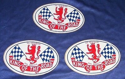 GAS & OIL DECAL SIGN lot 3 KING of the ROAD VTG ADDITIVE STICKER CHECKER FLAGS