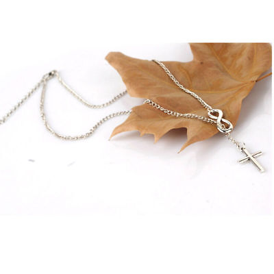 Elegant Silver Plated Cross Infinity Pendant Chain Necklace. ancient JERUSALEM