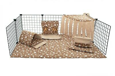 C&C waterproof fleece cage liner set for guinea pig and small animals beige star